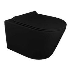 "In-Wall Toilet Set, 2""x4"" Carrier/Tank, Black, Black Round Metal Actuator"