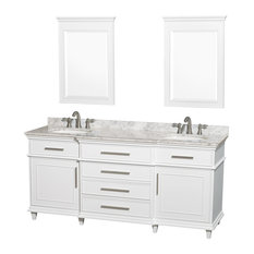 "Berkeley 72"" Double Vanity, White, White Carrera Marble, 24"" Mirrors"