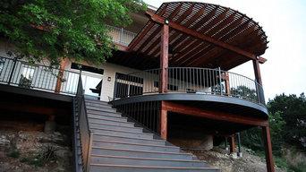 Curved Trex Tiki Torch Deck and Cedar Pergola