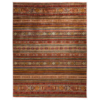 "Tribal Hand Knotted Area Rug, Red, 9'3""x11'9"""