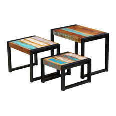 vidaXL 3-Piece Nesting Table Solid Reclaimed Wood