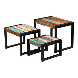 vidaXL 3-Piece Nesting Table Solid Reclaimed Wood
