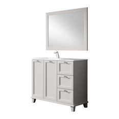 LINEBATH - Nord Transitional Pearl Vanity Unit, With Mirror, 93 cm - Bathroom Vanity Units & Sink Cabinets