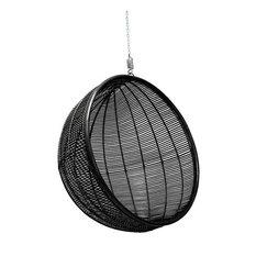 Bali Rattan Hanging Ball Chair, Black