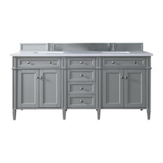 "Brittany 72"" Urban Gray Double Vanity w/ 4cm Carrara White Marble Top"