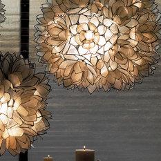 50 most popular capiz lotus flower chandelier for 2018 houzz lotus flower chandelier white pendant lighting aloadofball Images