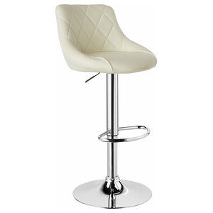 Modern Swivel Bar Stool Upholstered, Faux Leather With Chromed Footrest, Cream
