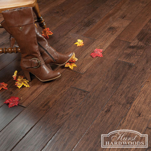 Hand scraped hickory prefinished solid wood floors 5 x 3 4 for Hand scraped wood floors