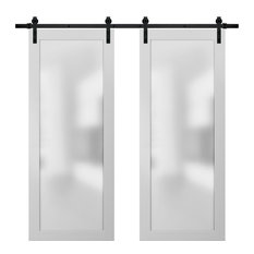 Planum 2102 Interior Closet Double Barn Doors 64x80 White Silk & Hardware 13FT
