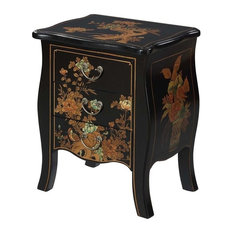 convenience concepts convenience concepts touch of asia 3drawer end table black
