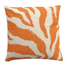 Zebra Hand-Printed Linen Pillow, Orange
