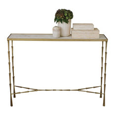 Spike Contemporary Brass Console Table with White Marble Top