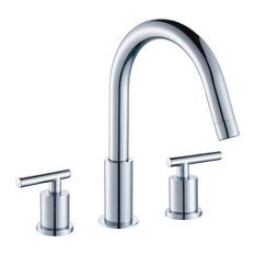 8 in. Contemporary Off-center Brass Faucet in Chrome Finish