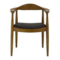 Real Oak Wood PU Leather Seat Wegner Kennedy Arm Chair, Walnut