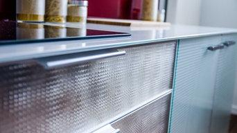 habillage en verre de meubles de cuisine