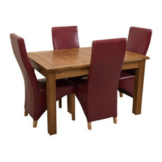 Cotswold Rustic Oak Extending Table, 4 Lola Chairs, Burgundy Leather