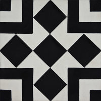 "8""x8"" Lile Handmade Cement Tile, Black, White, Set of 12"