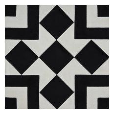 """8""""x8"""" Lile Handmade Cement Tile, Black/White, Set of 12"""