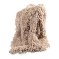 "Faux Mongolian Lamb Fur Throw, Taupe, 84"""
