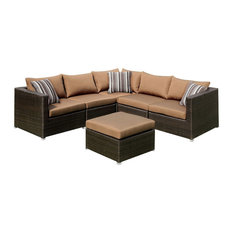 Abion Collection Patio Sectional Brown ,  Espresso Wicker, Ottoman and Pillows,