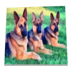 "6""x6"" German Shepherd ""Trio"" Ceramic Trivet/Decorative Tile"