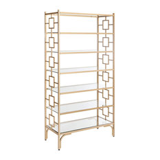 Bookcase Geometric Side Frame And Tempered Glass Shelves Gold And Clear