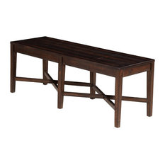 Acacia Wood Bench with Block Legs and Cross Base, Espresso Brown