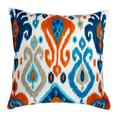 "18"" Outdoor Colorful Orange Blue Grey Ikat Geometric, Set of 2, Pillow Cover"