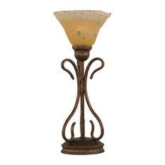 Swan 1-Light Table Lamp Bronze Amber Crystal Glass