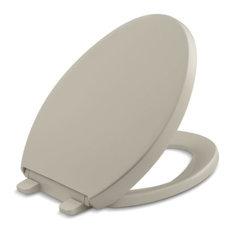 Kohler Reveal Quiet-Close with Grip-Tight Bumpers Elongated Toilet Seat, Sandbar
