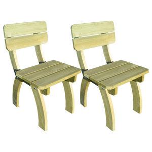 vidaXL Set of 2 Impregnated Pinewood Garden Chairs