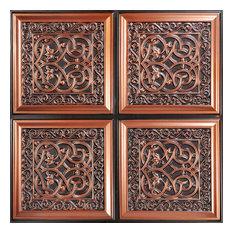 "Lover's Knot, Faux Tin Ceiling Tile, Glue up, 24""x24"", #231, Antique Copper"