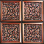 """Decorative Ceiling Tiles - Lover's Knot, Faux Tin Ceiling Tile, Glue up, 24""""x24"""", #231, Antique Copper - Flower lovers and others can tiptoe through 32 tiny tulips on each of these Tiny Tulips tiles. Perfect for flower shops, garden shops, greenhouses, and other gardening stores and centers, these exquisitely proportioned tiles will be a great hit with flower lovers of all kinds. So highly decorative and bursting with bulbs, these tiles are sure to remind you of a Dutch tulip field in springtime, bursting with yellow, pink, orange, and red buds. These tiles are so realistic, I wouldn't be surprised if you told me you'd seen a little boy or girl sporting wooden shoes!"""