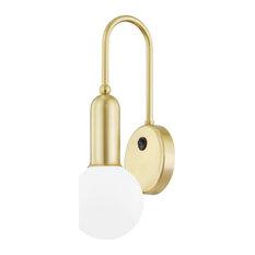 Gabby 1-Light Wall Sconce, Aged Brass