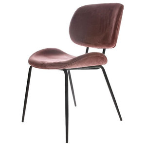 Modernist Velvet Dining Chair - Set of Two, Old Pink