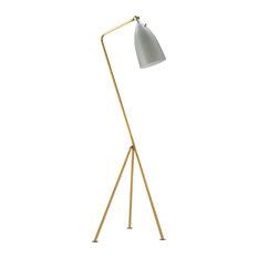 Black Shade Floor Lamp, Brass Hardware