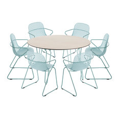Remy 5-Piece Round Garden Dining Table Set, 6 Dining Chairs