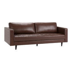 Blaine Sofa With Distressed Cognac Brown Faux Air Leather Upholstery, 3-Person