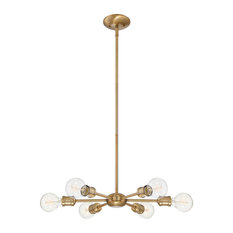 6-Light Chandelier, Natural Brass