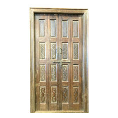 Mogul Interior - Consigned Indian Door Hand Carved Teak Rustic Wood Double Doors Yoga Decor - Interior Doors