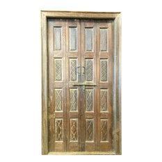 Mogul Interior - Consigned Indian Door Hand Carved Teak Rustic Wood Double Doors Yoga Decor - Interior Doors