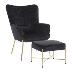 Izzy Contemporary Lounge Chair/Ottoman Set, Gold Metal/Black Velvet Fabric