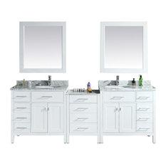 "London 92"" Double Sink Vanity Set in White"