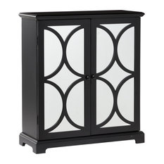 Contemporary Black Wood And Mirror Cabinet