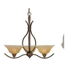Swoop 3-Light Chandelier Bronze Amber Crystal Glass