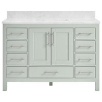 "Kendall Sage Green Bathroom Vanity, 48"", With Carrara Marble Top"