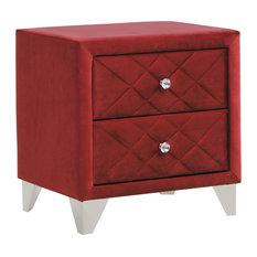 2 Drawer Velvet Upholstered Nightstand Maroon