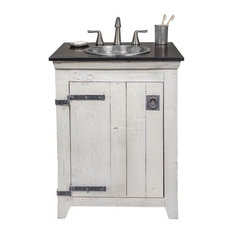 "24"" Paloma Vanity Suite With Nickel Sink, Whitewash"