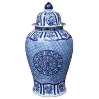 Blue and White Medallion Plum Blossom Temple Jar, Large