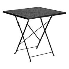 "28"" Folding Patio Table, Black"